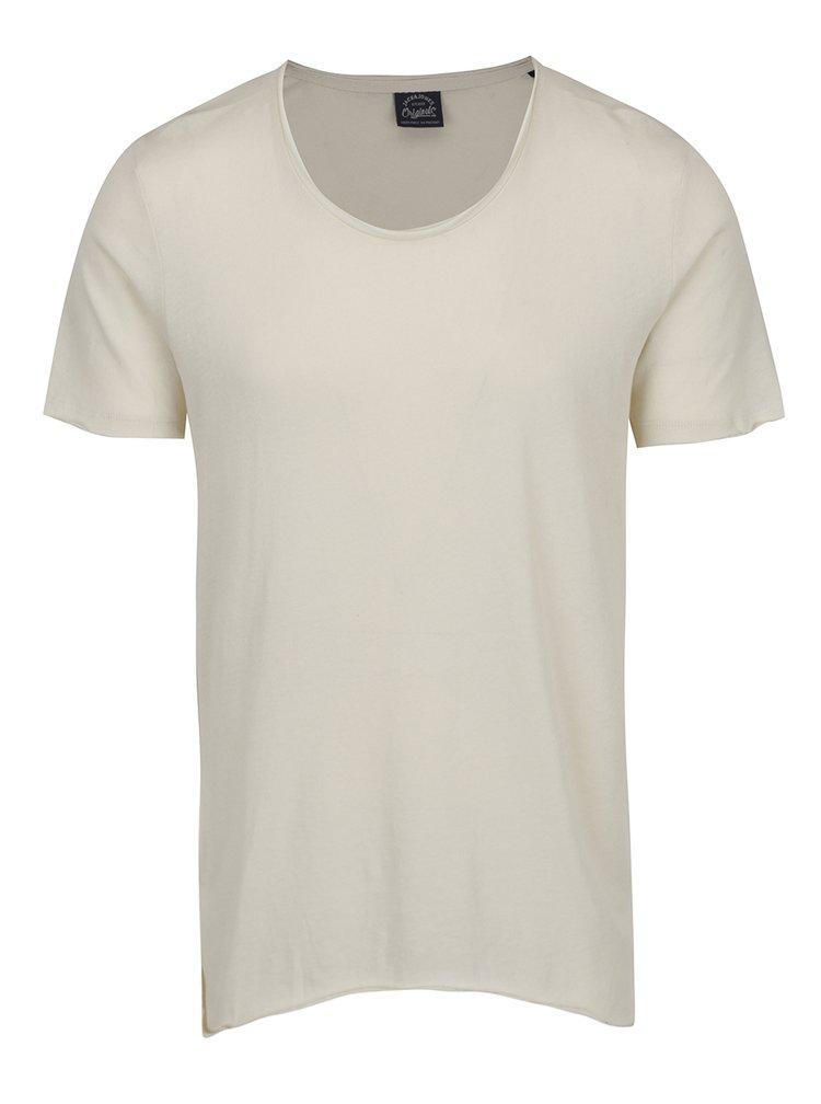 Krémové asymetrické tričko s krátkým rukávem Jack & Jones Hem