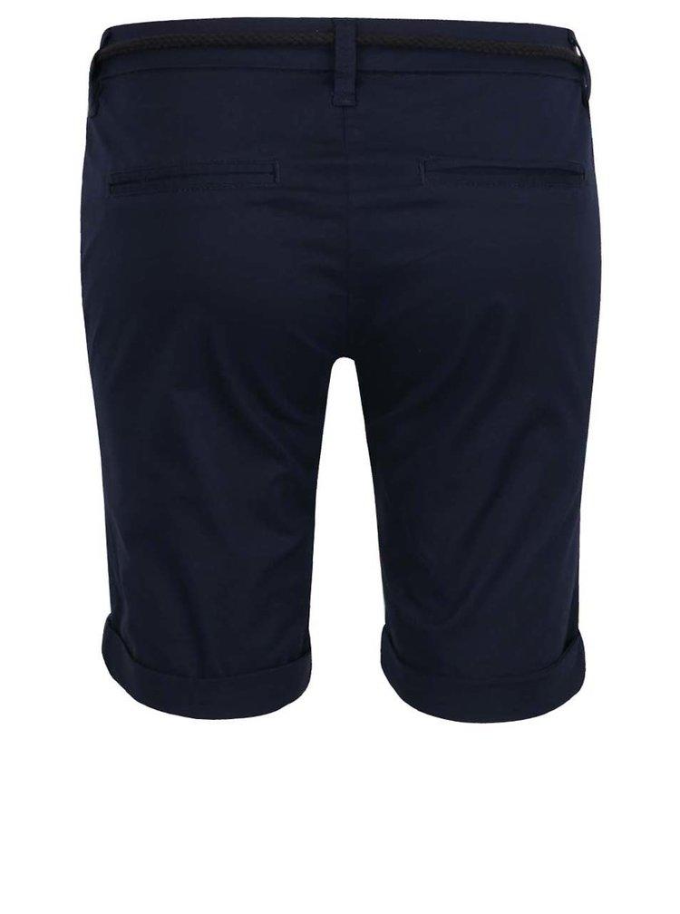 Pantaloni albastru închis ONLY Paris cu șnur în talie