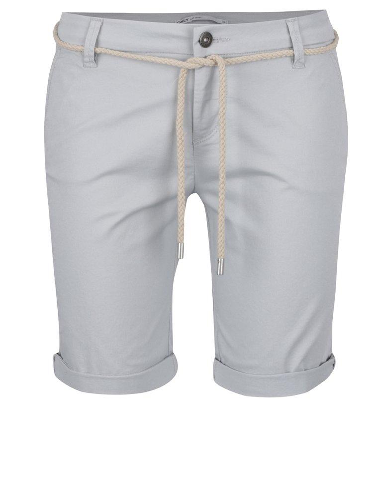 Pantaloni scurti gri deschis ONLY Paris cu snur decorativ