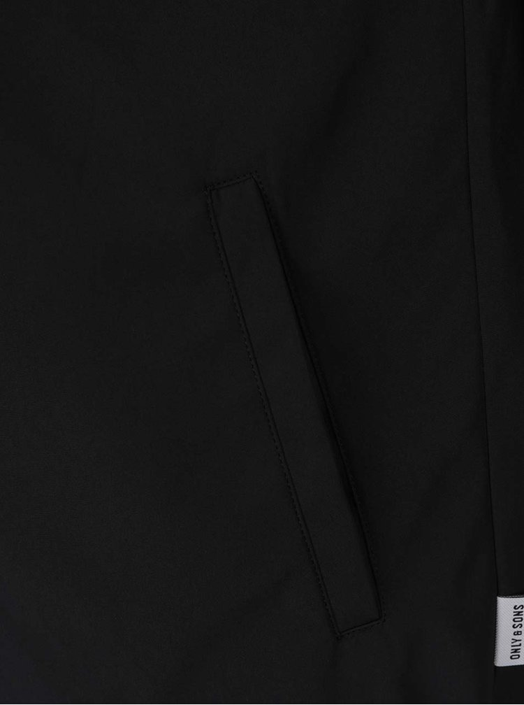 Černá bunda s potiskem a kapucí ONLY & SONS Laney