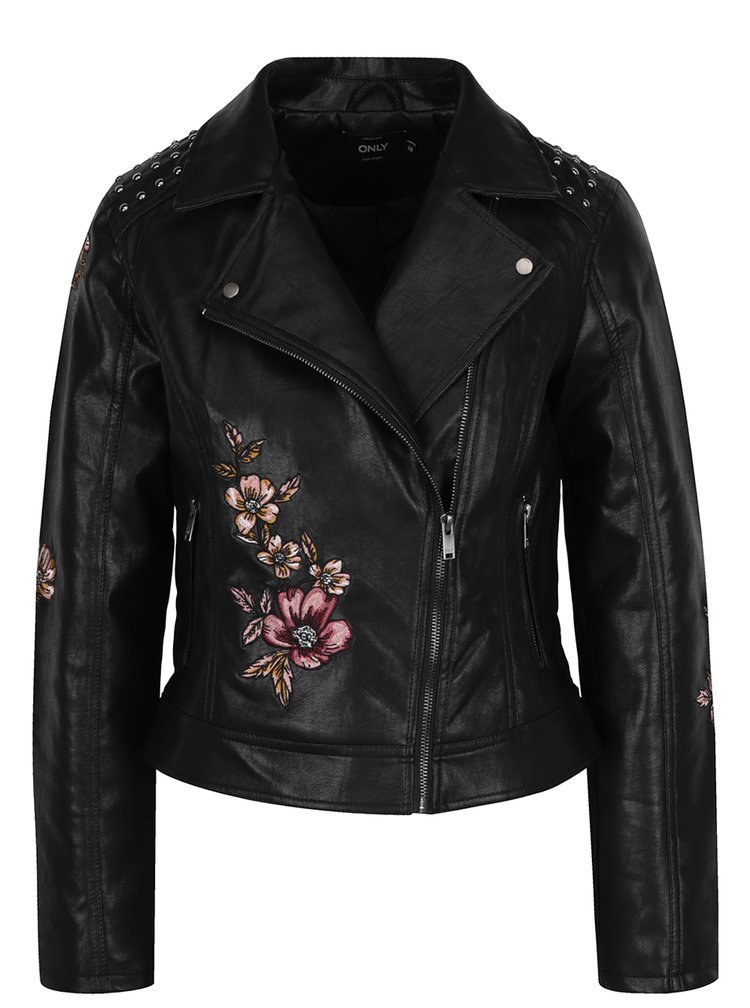 Jacheta biker neagra cu broderie florala ONLY Kate