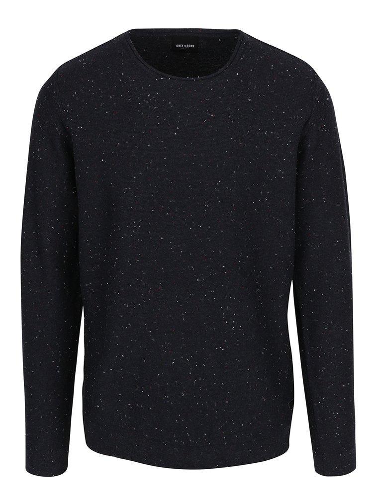 Tmavomodrý melírovaný sveter ONLY & SONS Dian