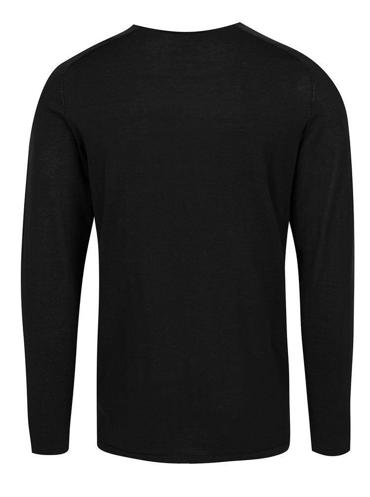 Černé tričko s dlouhým rukávem Jack & Jones Premium Jamie