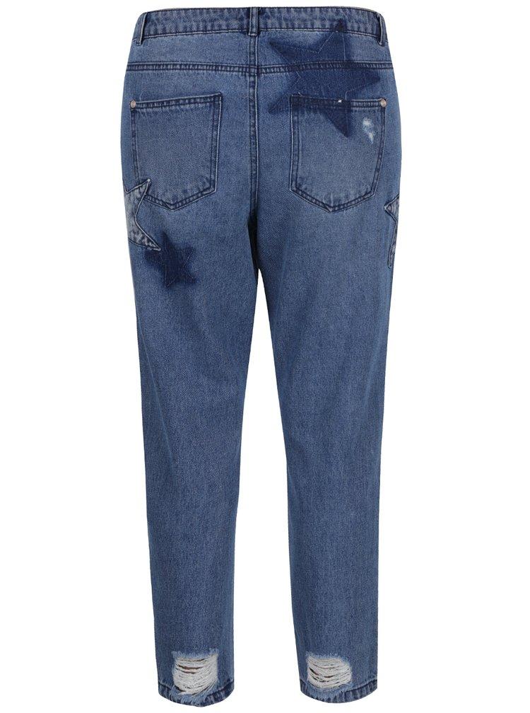 Modré zkrácené boyfriend džíny s vysokým pasem a nášivkami ONLY Tonni