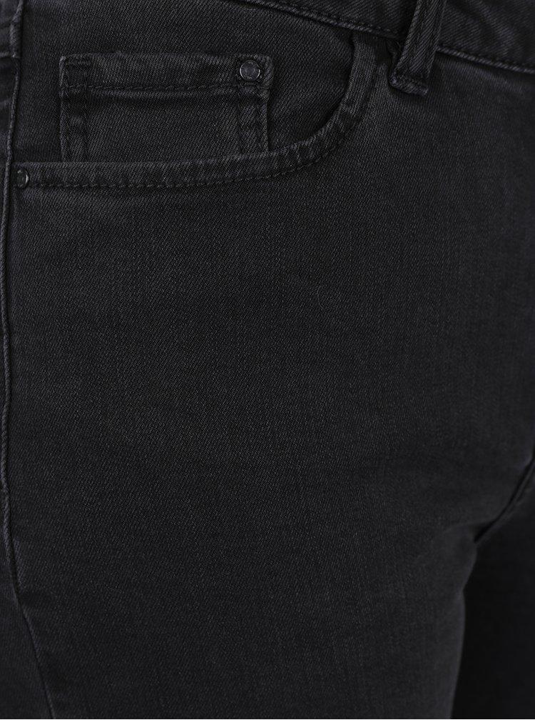 Černé džíny s vysokým pasem a roztřepenými lemy VILA Junas