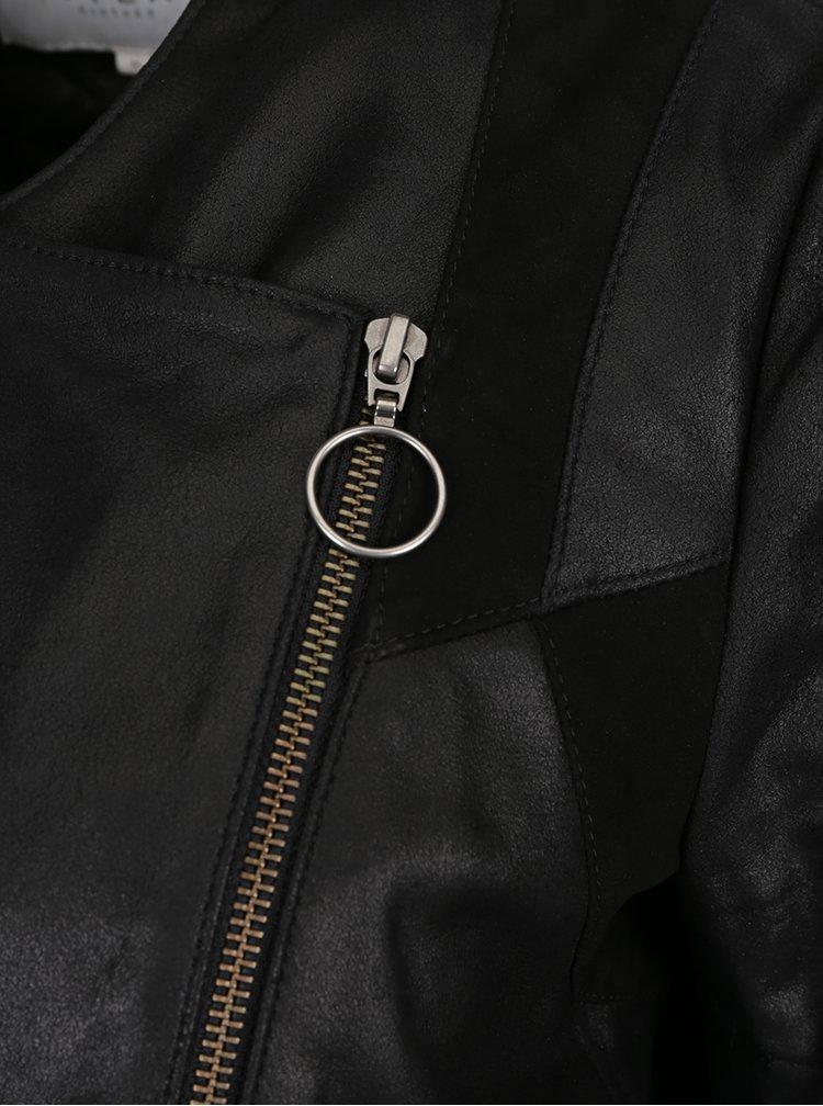 Černý kožený křivák VILA Susan