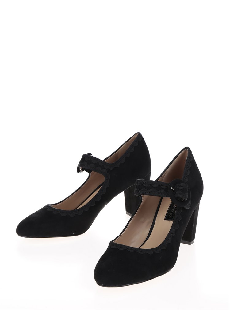 Pantofi negri cu toc gros si bareta - Dorothy Perkins