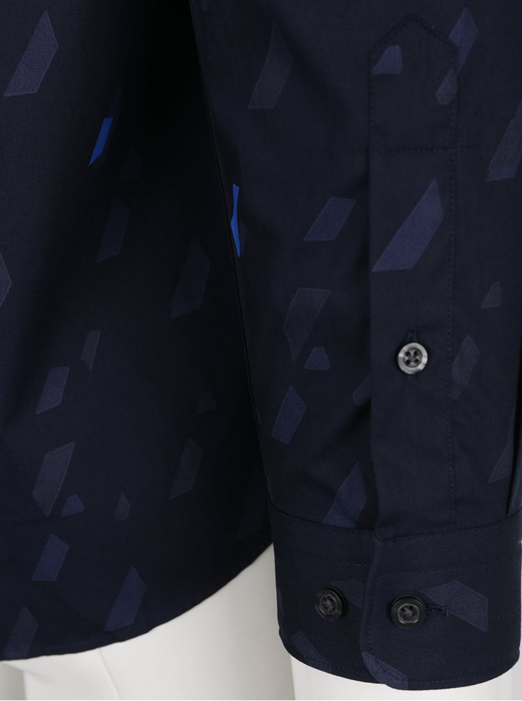 Camasa bleumarin cu print grafic Jack & Jones Premium Geometric Rain