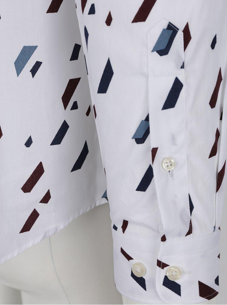 Camasa alba cu print grafic Jack & Jones Premium Geometric Rain