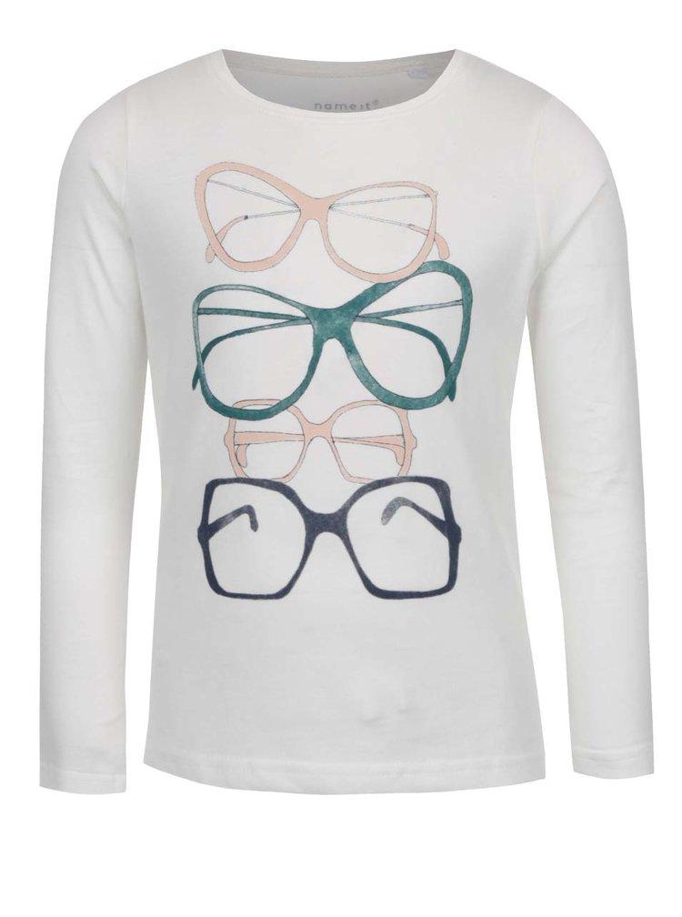 Krémové holčičí tričko s potiskem Name it Veenibi