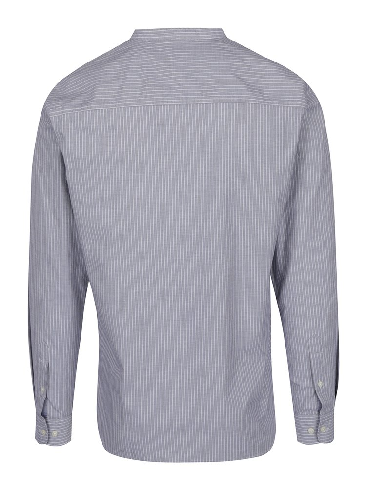 Camasa slim fit gri cu dungi albe Jack & Jones Premium Sao Paulo