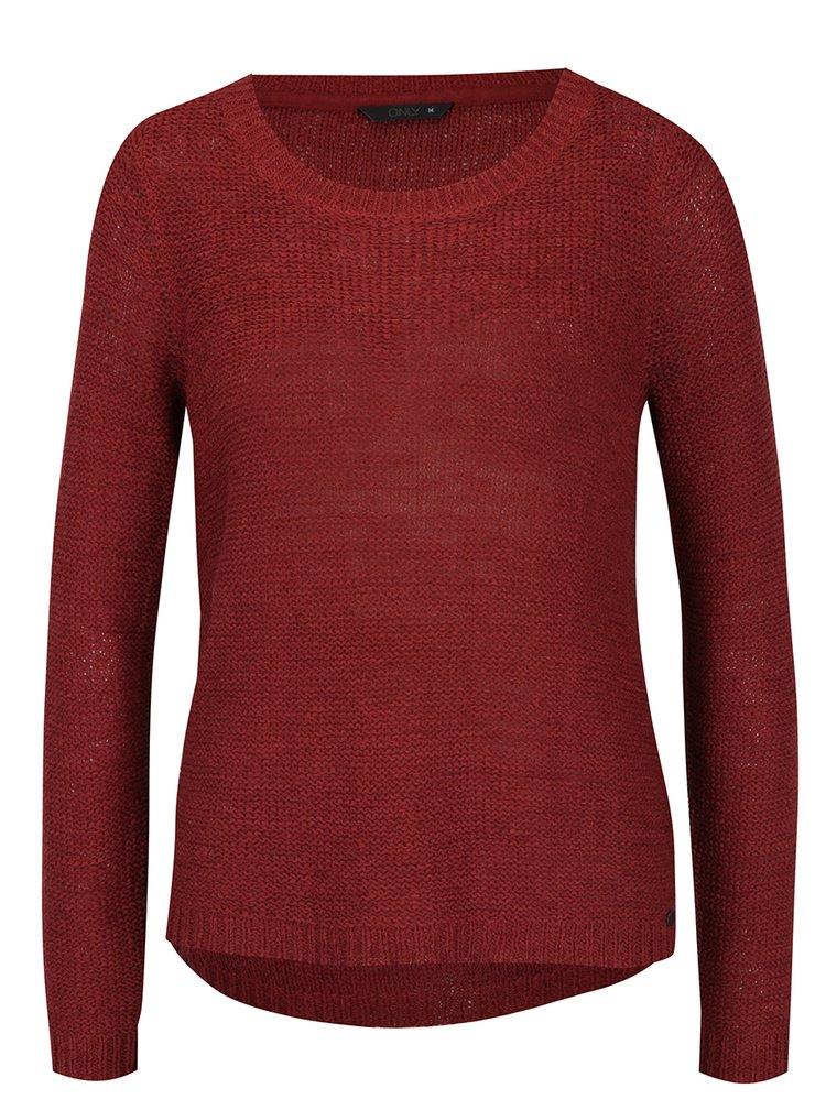 Tmavě červený lehký svetr ONLY Geena