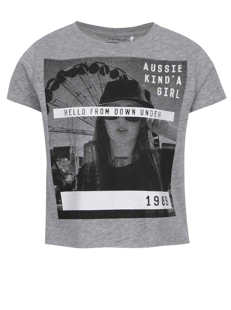 Šedé holčičí tričko s potiskem Name it Nsis