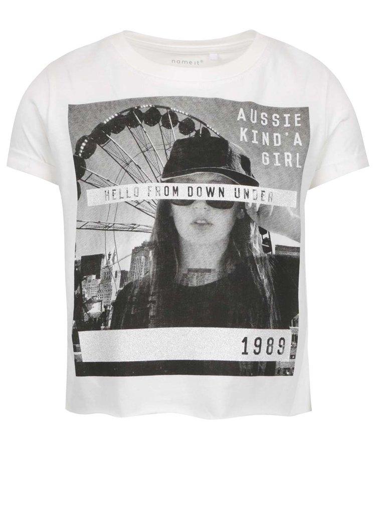 Krémové holčičí tričko s potiskem Name it Nsis