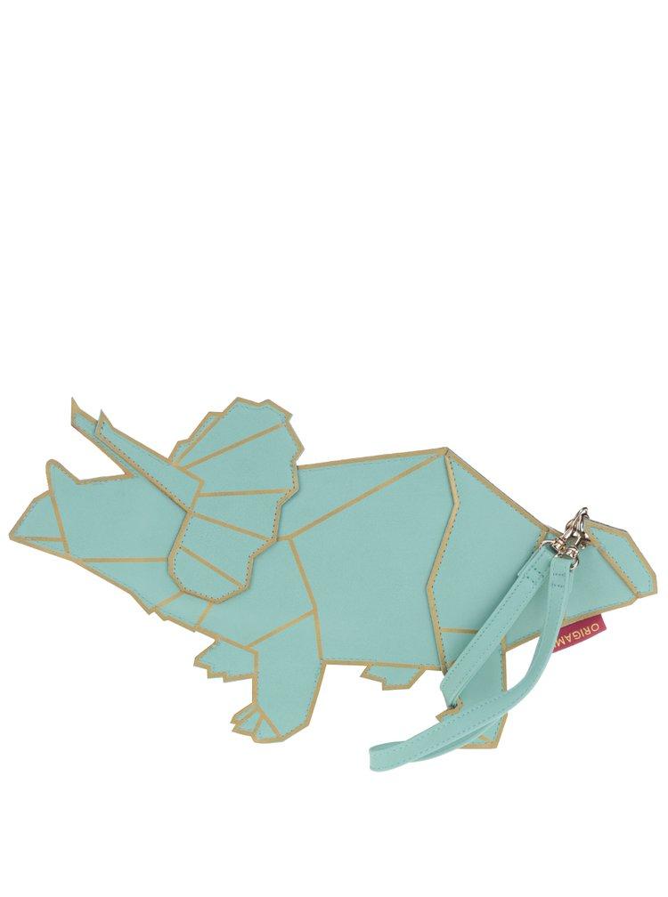 Geantă turcoaz în formă de dinozaur Disaster Origami