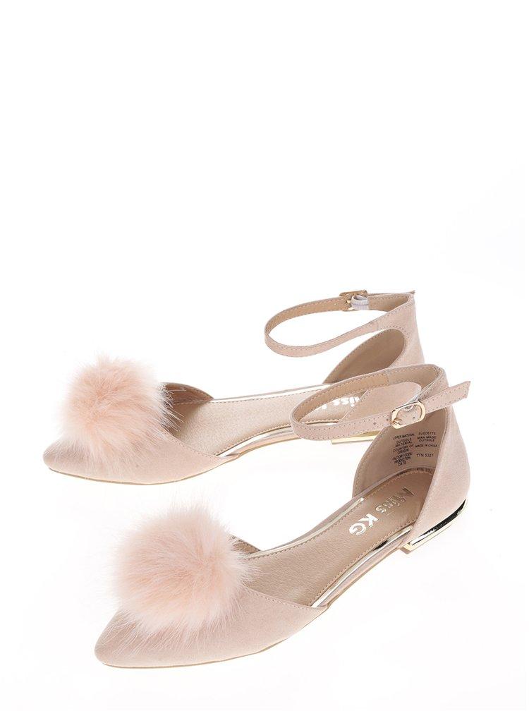 Sandale roz prăfuit cu blăniță Miss KG Goldie
