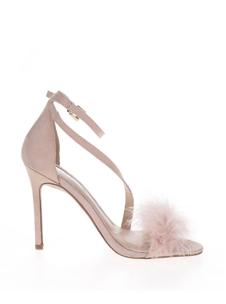 Sandale roz prăfuit cu toc stiletto și fulgi Miss KG Flirt