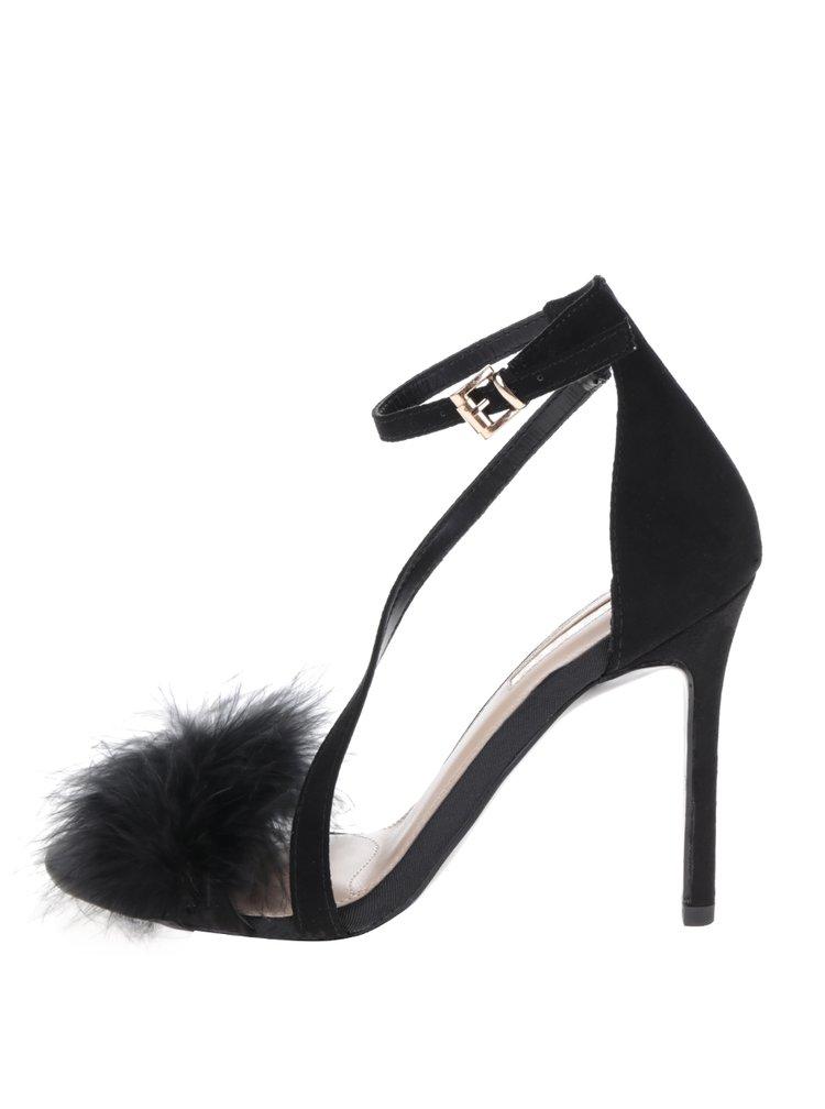 Sandale negre cu toc stiletto și fulgi Miss KG Flirt