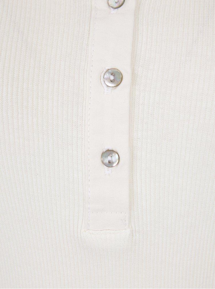 Krémové tričko s knoflíčky VERO MODA Gaby