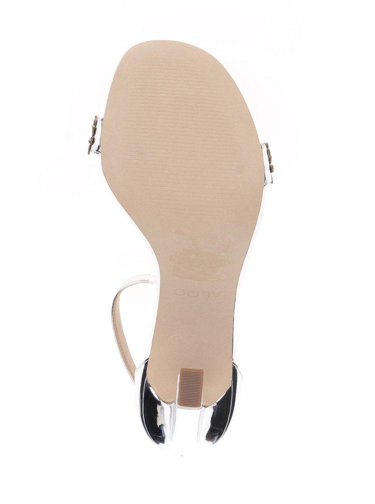 Sandálky ve stříbrné barvě na vysokém podpatku ALDO Milaa