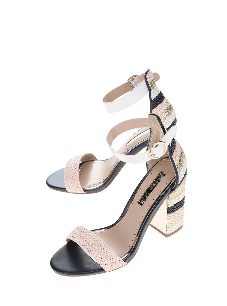 Sandale multicolore cu dungi si toc patrat Miss KG Ebony