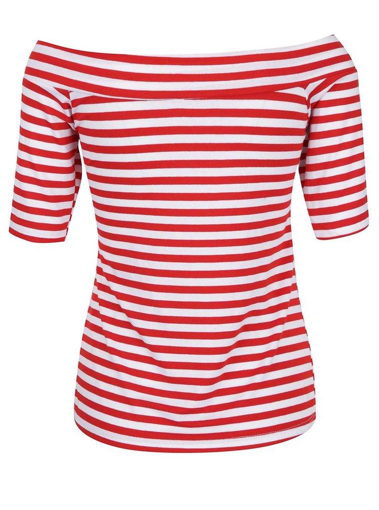 Bluză cu dungi roșii și decolteu pe umeri ZOOT