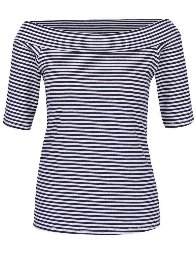 Modro-bílé pruhované tričko s lodičkovým výstřihem ZOOT