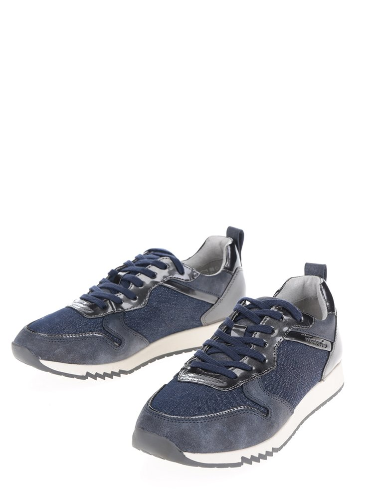 Pantofi sport albastri din denim cu detalii lucioase Tamaris