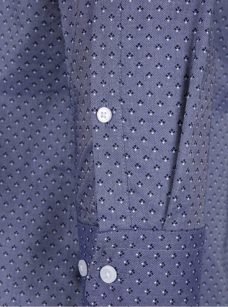 Tmavě modrá formální vzorovaná slim fit košile  Seidensticker