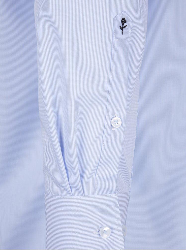 Světle modrá pruhovaná modern fit košile Seidensticker