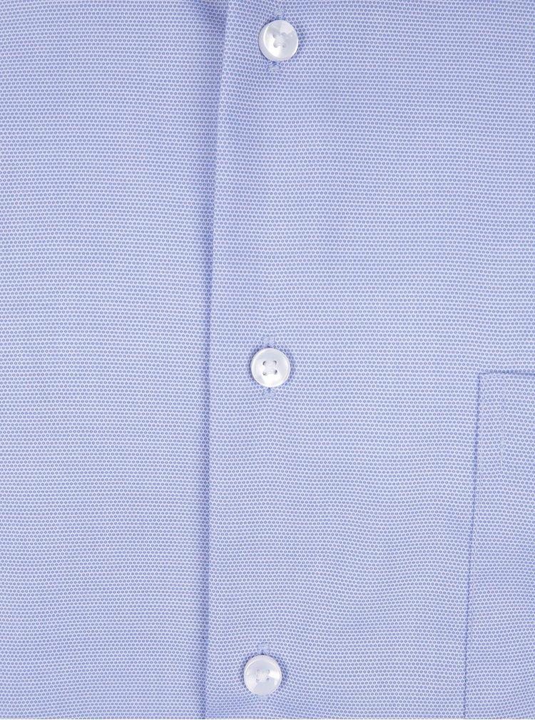 Modrá modern formální fit košile s drobným vzorem Seidensticker