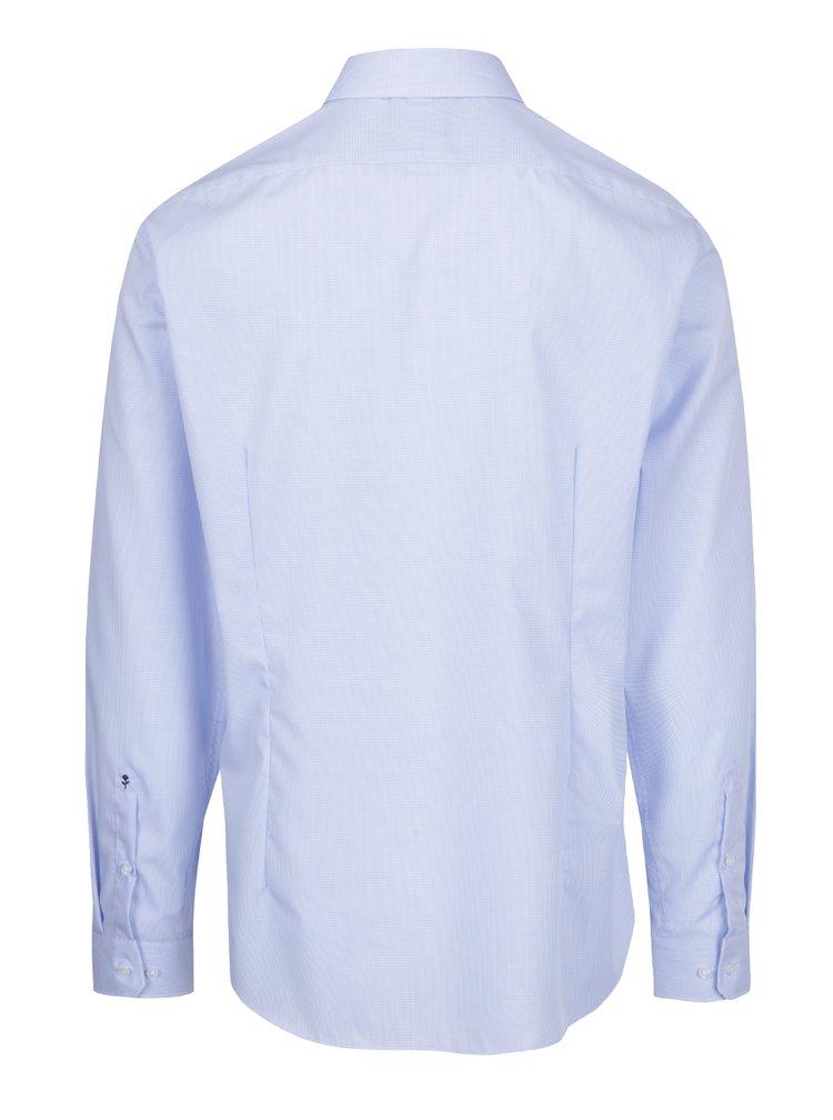 Světle modrá formální kostkovaná tailored fit košile Seidensticker