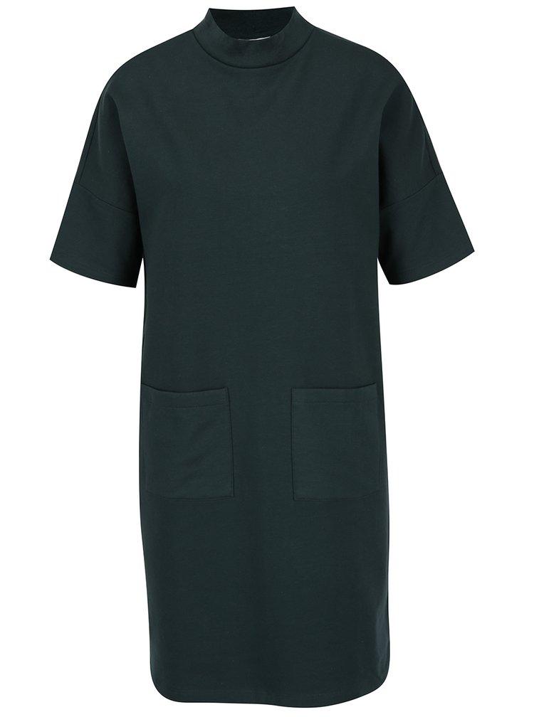 Tmavě zelené mikinové šaty Noisy May Bass