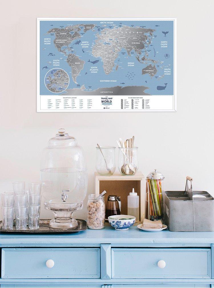 Stírací mapa světa v modro-stříbrné barvě Travel Map