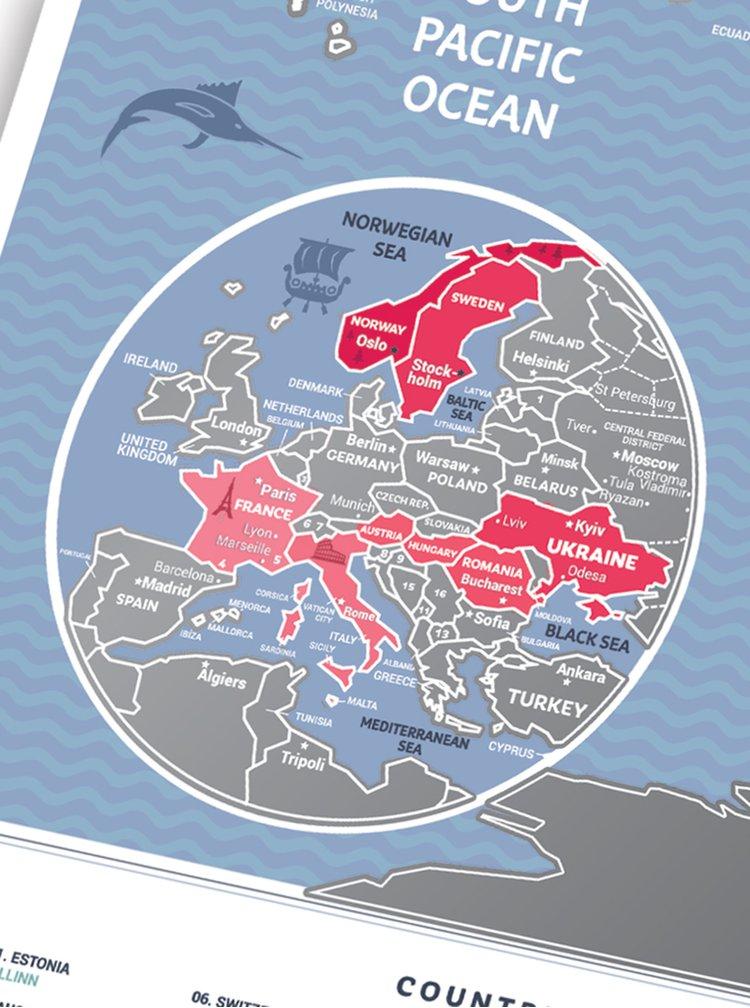 Harta lumii răzuibilă Travel Map și laminată