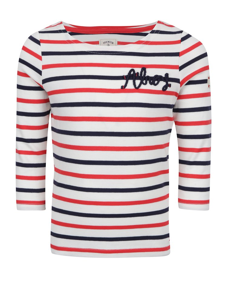 Krémové holčičí pruhované tričko Tom Joule