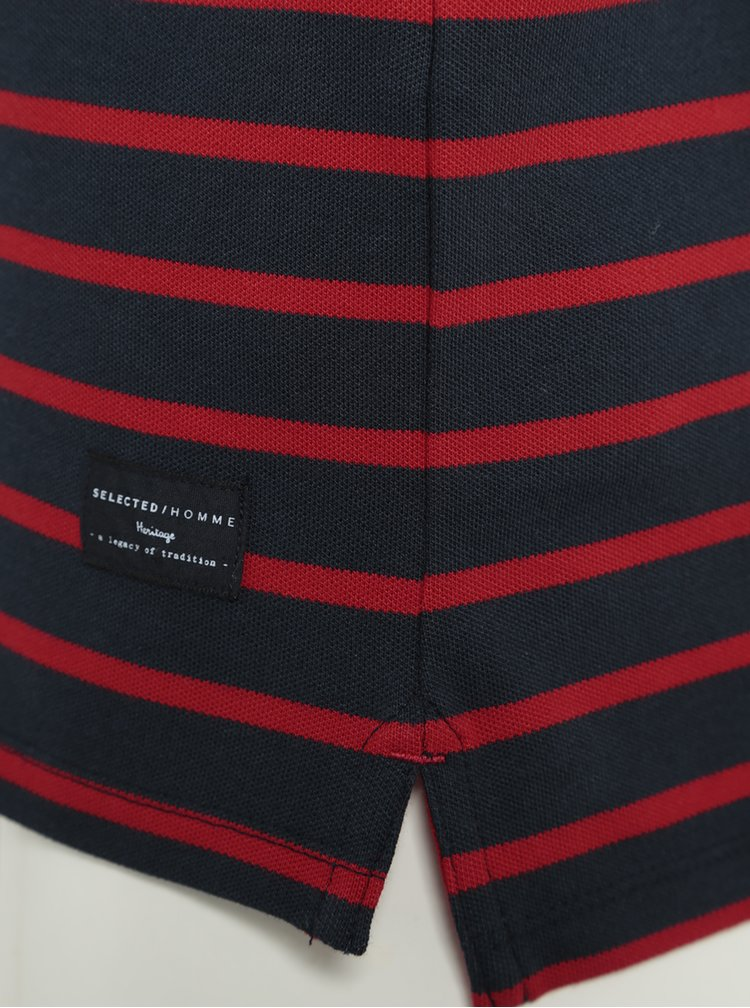 Tricou polo in dungi bleumarin cu rosu Selected Homme Aro