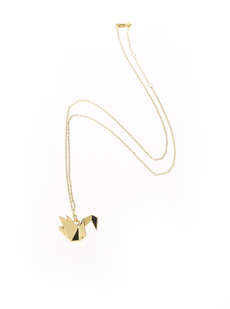 Řetízek ve zlaté barvě s přívěskem labutě Pieces Adel