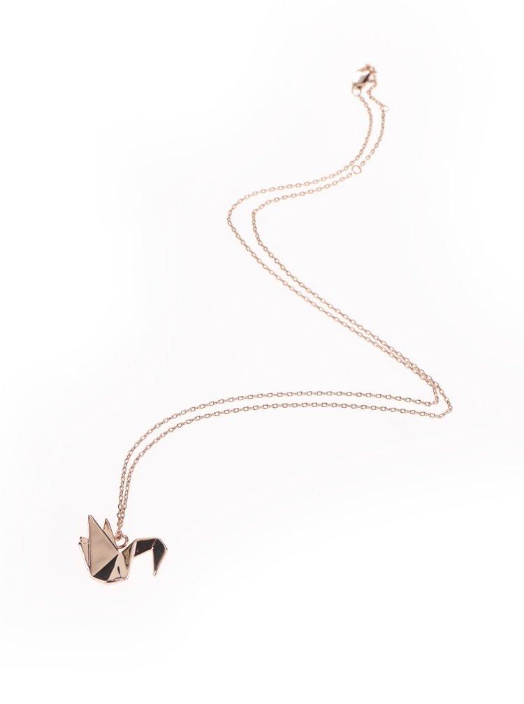 Řetízek v růžovozlaté barvě s přívěskem labutě Pieces Adel