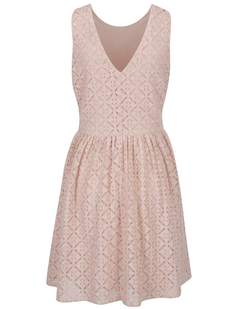 Světle růžové krajkované šaty VERO MODA Arona