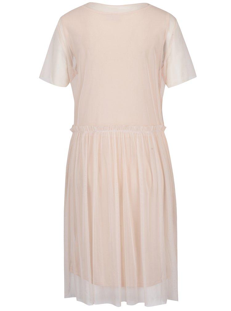 Světle růžové šaty s průsvitnými detaily Noisy May Thea