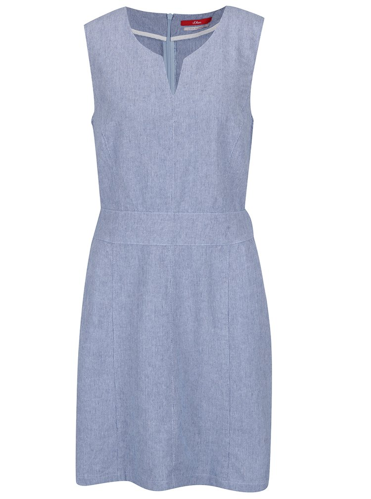 Světle modré lněné žíhané šaty bez rukávů s.Oliver