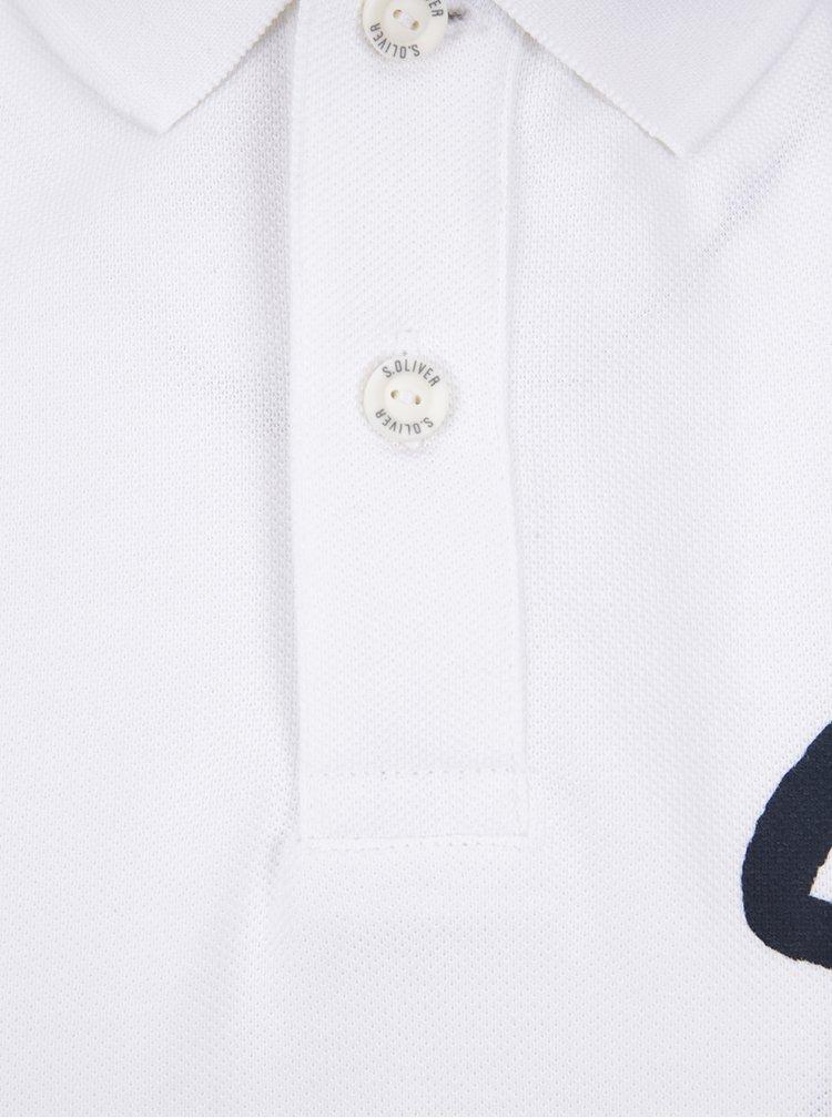 Bílé pánské polo triko s potiskem s.Oliver