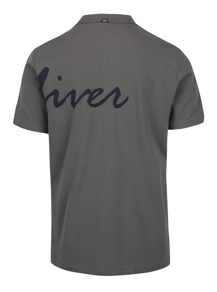 Zelené pánské polo tričko s potiskem s.Oliver