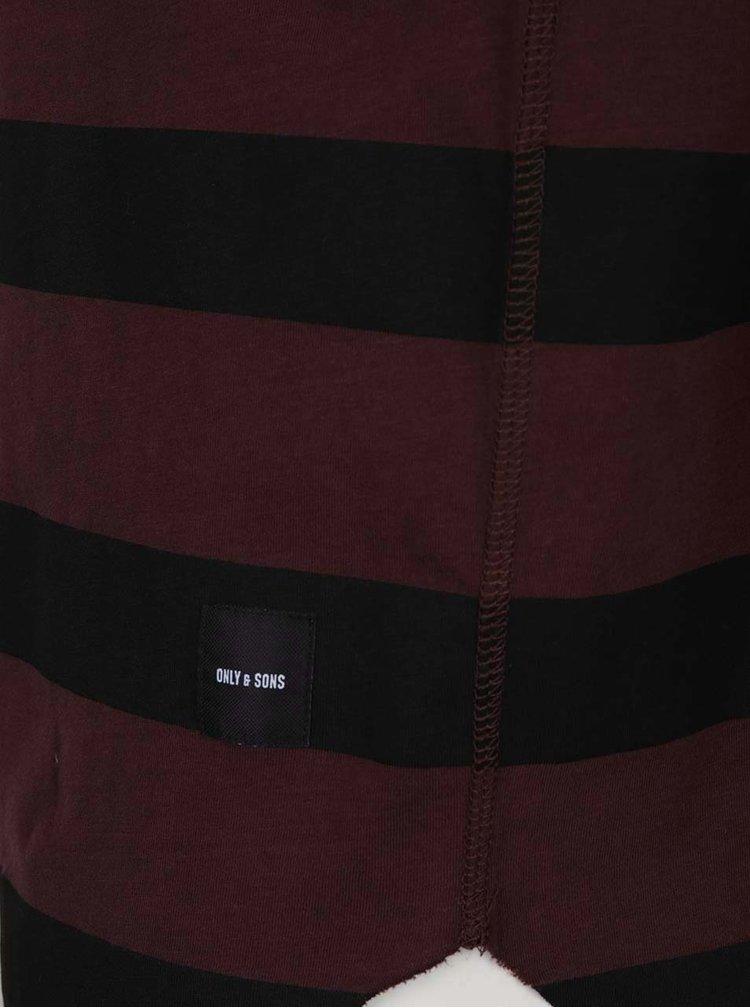 Tricou în dungi roșu burgundy cu negru ONLY & SONS Hako