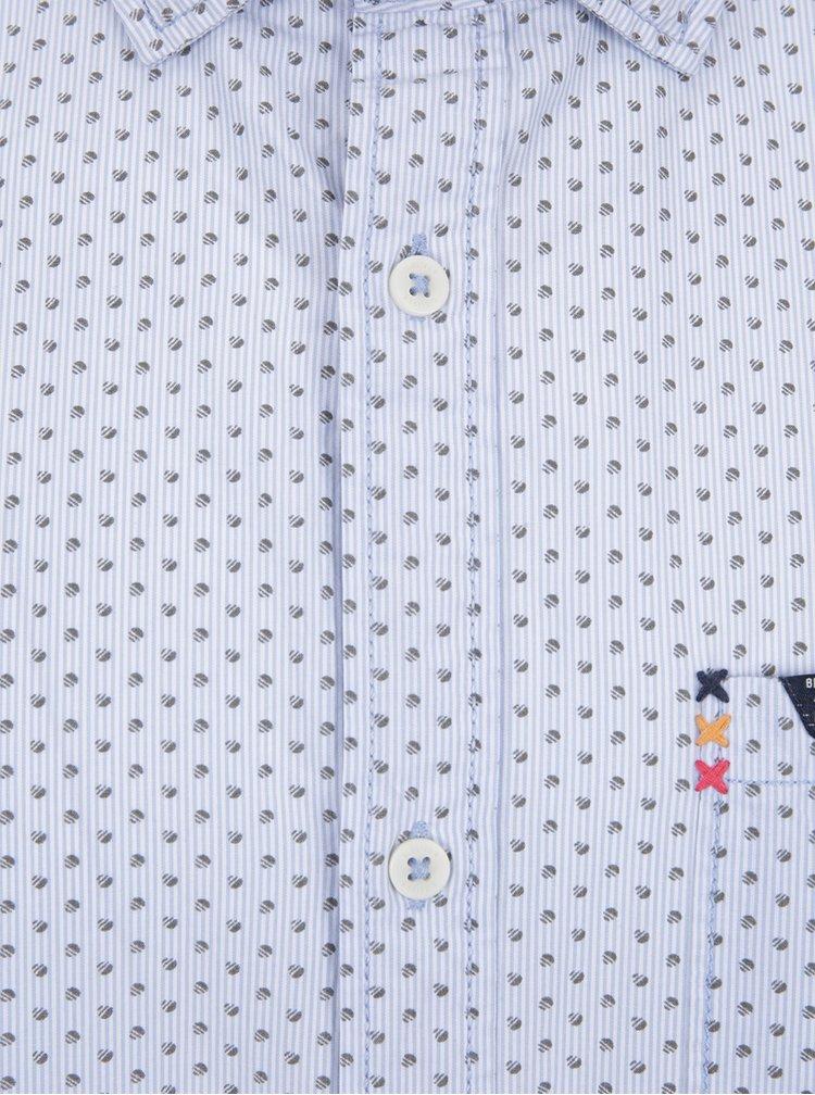 Světle modrá pánská košile se vzorovanými lemy s.Oliver