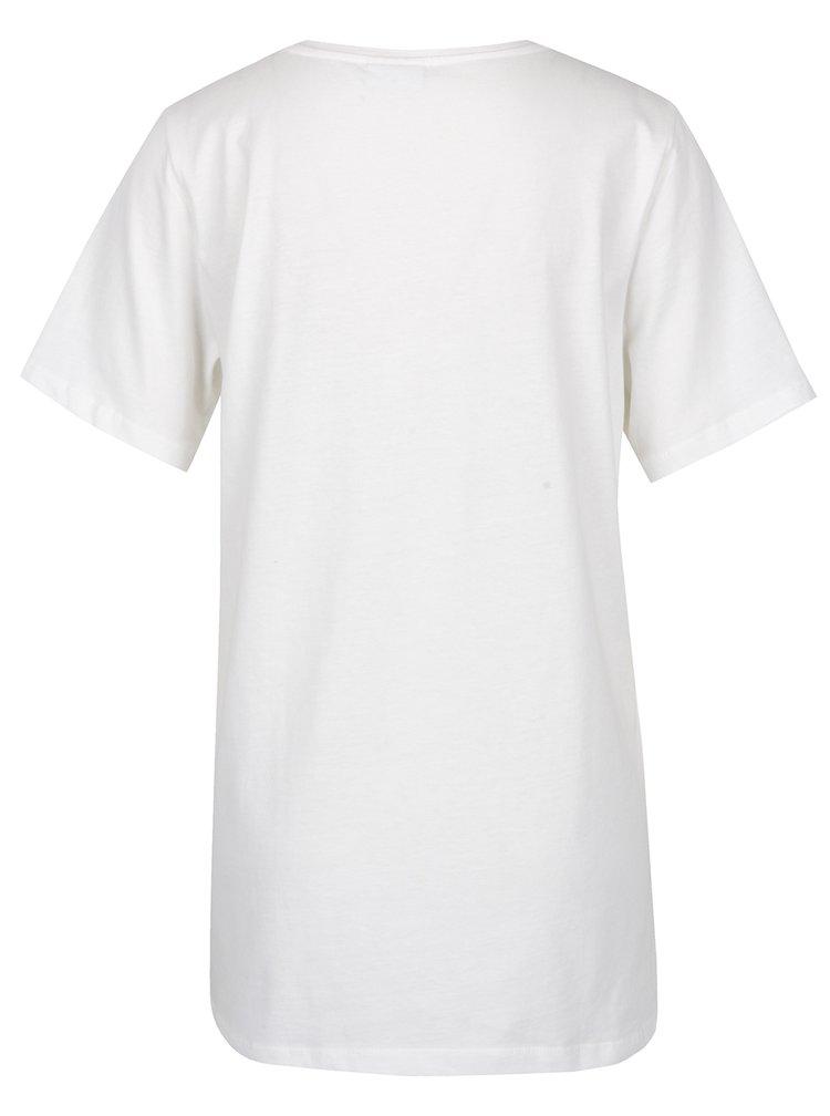 Bílé tričko s potiskem Noisy May Frank
