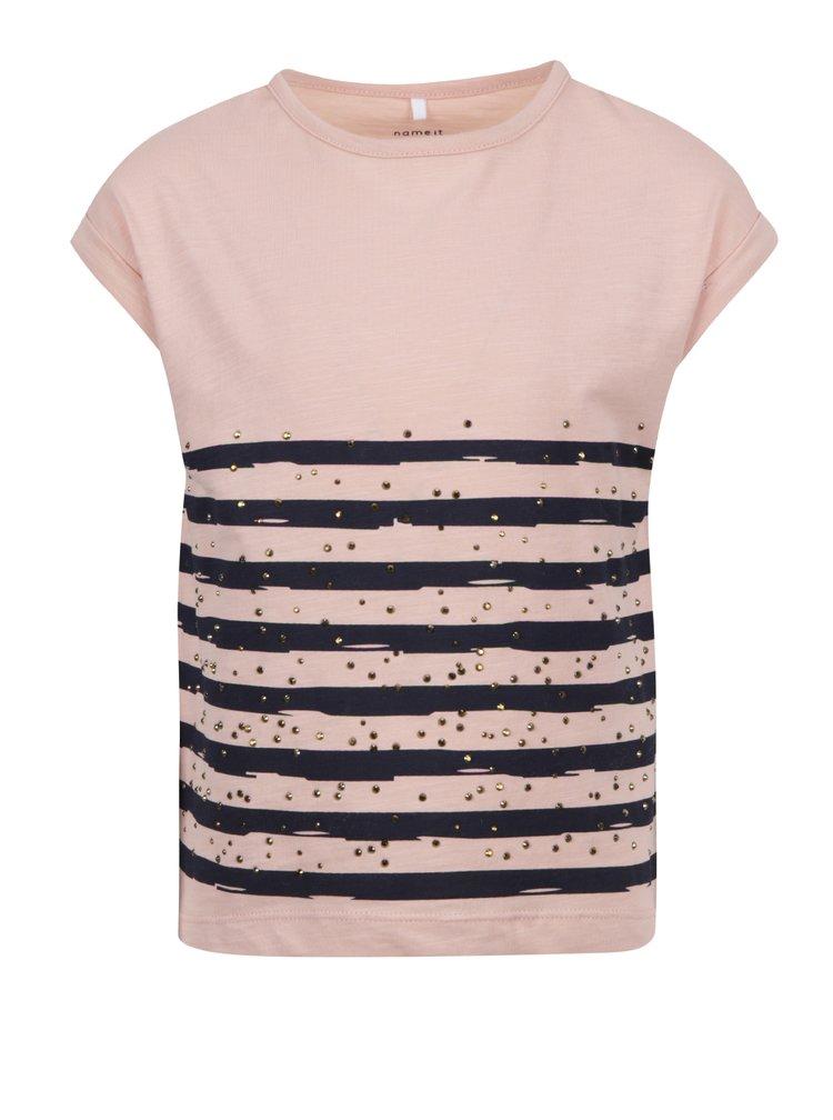 Růžové holčičí tričko s potiskem a ozdobnými kamínky name it Hilde