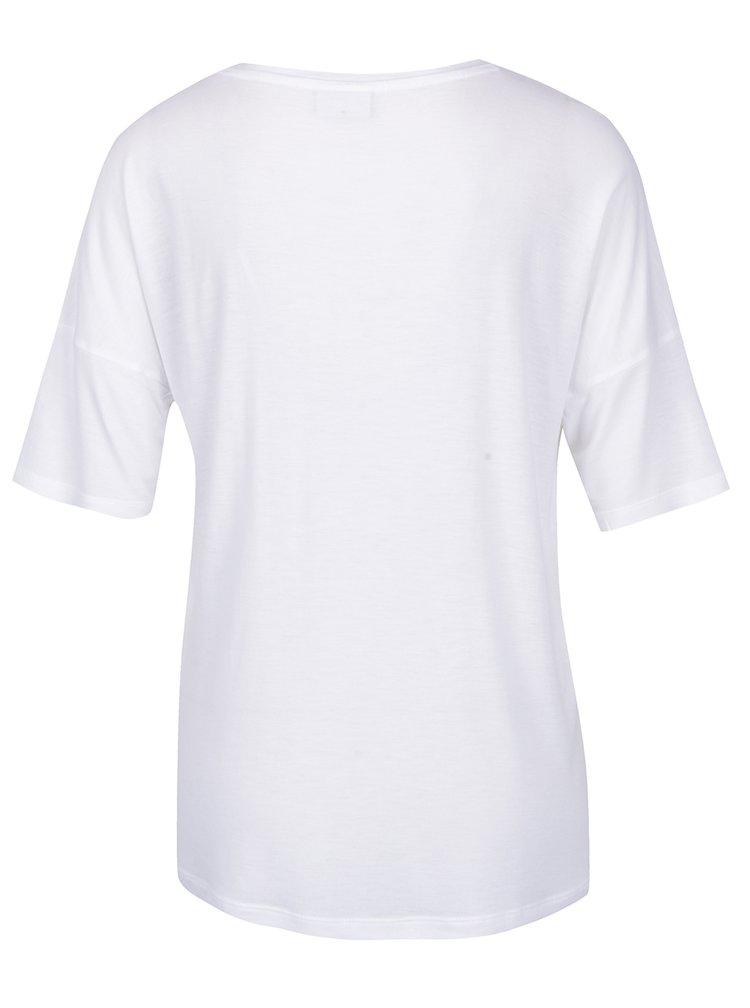 Bílé volné tričko s kapsou Noisy May Raven
