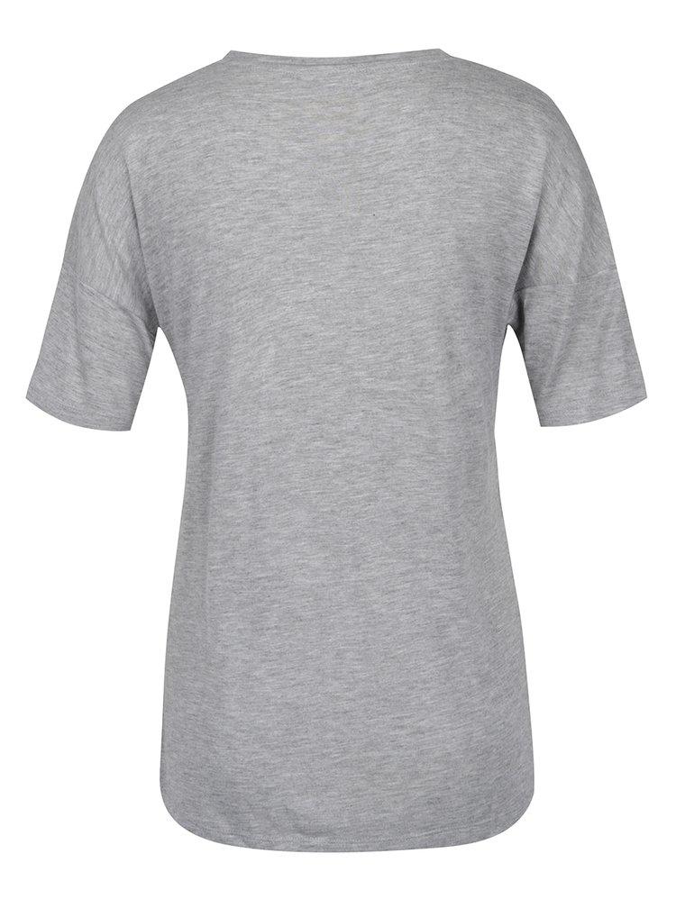Šedé volné tričko s kapsou Noisy May Raven